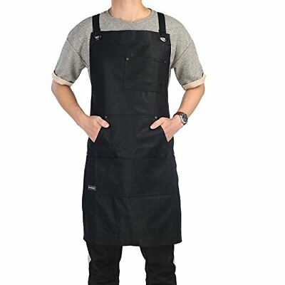 Work Apron Clya Home Heavy Duty Waxed Canvas Shop with Tool Pockets Adjustable