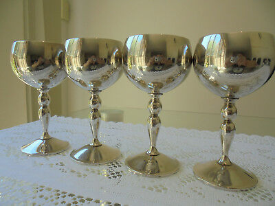 4 VINTAGE VALERO SPAIN SILVER PLATED WINE GOBLETS CUPS GLASSES~Free Aus Post