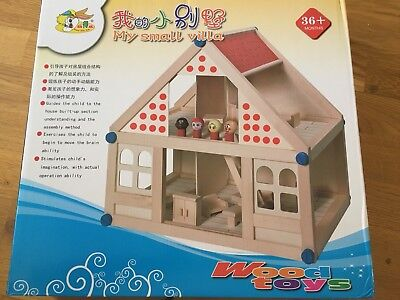 Wooden Toy Small Doll House 2 Storeys Two Levels Doll Furniture Accessories