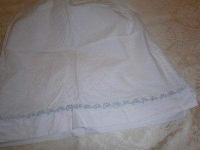 Vintage Homemade Ladies White Cotton Half Petticoat/slip With Floral Border Hem
