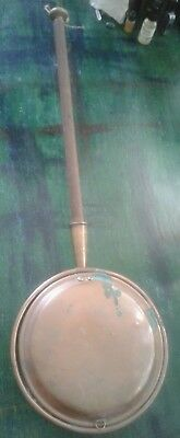 vintage antique French copper pan long wooden handle
