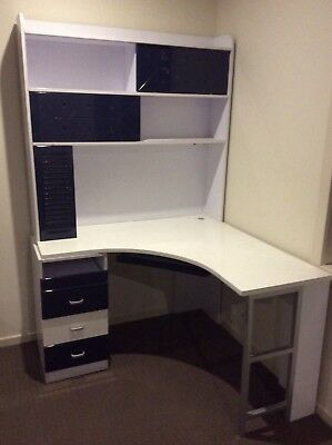 kids desk, bookshelf, with blue chair