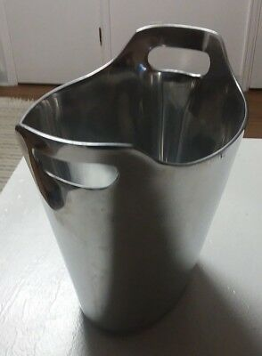 "Pottery Barn Wine Champagne Ice Bucket, ""Barona"" Model, Silver w/Molded Handles"