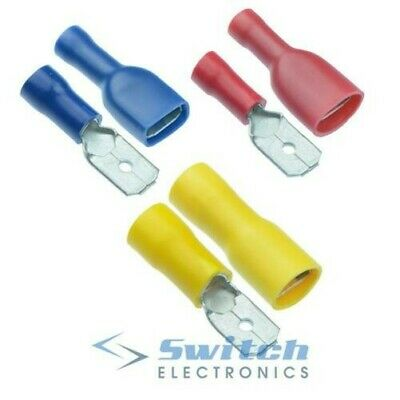 Male + Female Insulated Pairs Crimp Connector Terminals - Red Blue Yellow