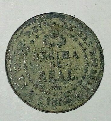 Spanish Queen Isabella 1 Real 1854