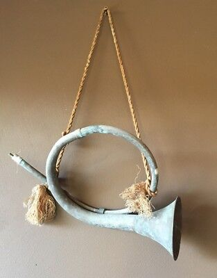 Vintage Brass French Horn Fox Hound Hunting Bugle Wall Decor