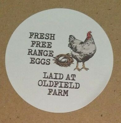 24, Egg Box Labels, Personalised, Chicken, Duck, Hen, Cartons, Boxes, Free Range
