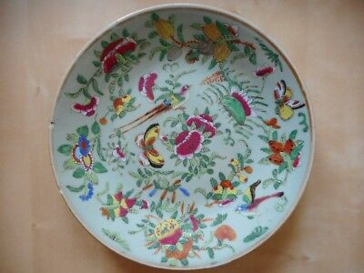 Assiette porcelaine céladon - Chine china chinese plate porcelain 25cm 9,8 inch
