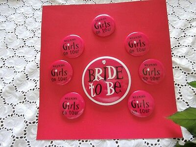 SET 8 xParty Buttons Hen Night Anstecknadel Jungesellinnen Abschied Ladies Night