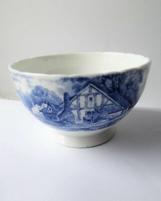 Vintage Hudson & Middleton Sutherland China Blue & White Rural Scenes Sugar Bowl