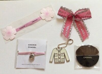 Chanel keyring,chance bracelet and ribbon card ,brush and bow ribbon
