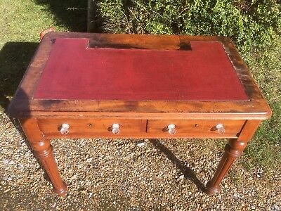 Antique Writing Desk With Leather Top