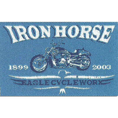Iron on patches Iron Horse Biker blue 8,1x5,5cm Application Embroided ba