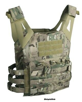 MIL-TEC PlateCarrier Airsoft Softair Weste Multicam Camouflage+Holster+Patch