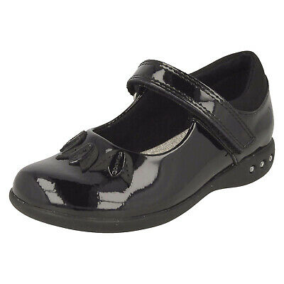 Infant Girls Clarks Riptape Strap Mary Jane Patent School Shoes Prime Step Size
