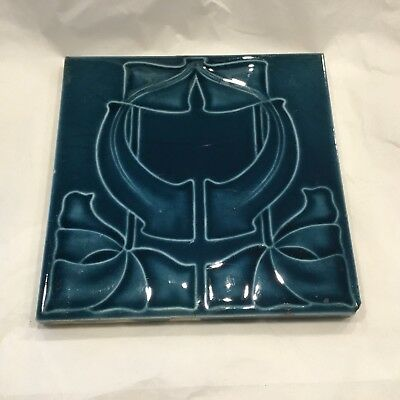 Art Nouveau Tile England, Henry Richards, 6""