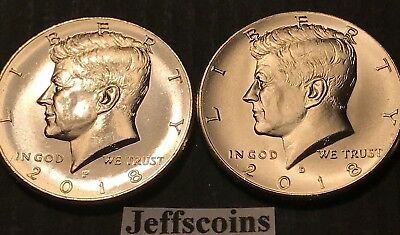 2018 P&D Kennedy Half Dollars Kenedy PD MINT ROLL Clad 50¢ 2 Uncirculated Coins