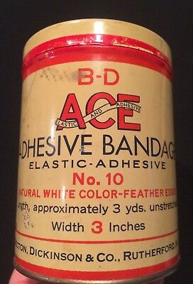 Vintage ACE ADHESIVE BANDAGE Can Tin Advertising Medical Rutherford, New Jersey