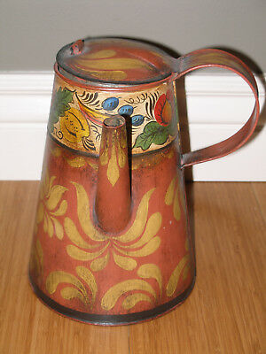 Antique Tin Toleware Side Spout Coffeepot, Decorated And Signed By Artist
