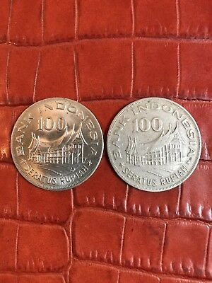 Indonesia 1978 - TWO 100 Rupiah Copper-Nickel Coins