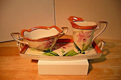 Noritake Antique (1914-1925) Sugar/ Creamer/tray Hand Painted Pink Floral