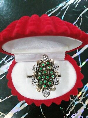Ladie's Handmade Jewelry / 925 Sterling Silver / Emerald Stones Ring Size 7.5