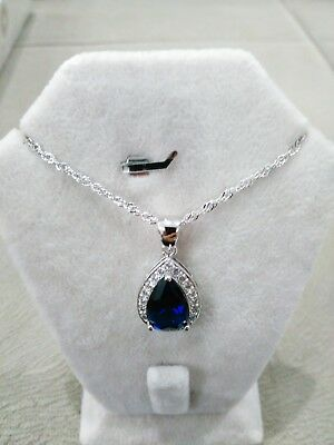 Perfect Handmade Jewelry 925 Sterling Silver / Sapphire Ladie's Pendant+Chain