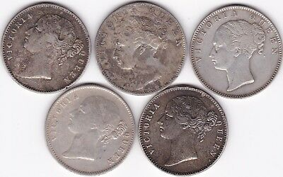 1840 British India Queen Victoria One Rupee Silver Lot Of 5 Coins .