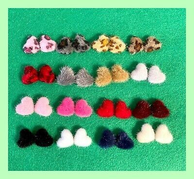 10 Furry heart flatback hair bow Valentine red READY TO SHIP card making hairy