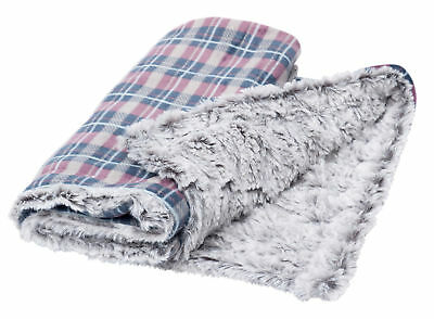 Dove Grey Check Pet Blanket Reversible Soft Faux Fur Petface Puppy Dog Comforter