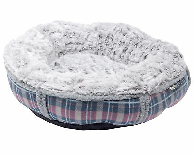 Petface Dove Grey Check Donut Cat Bed Cosy Faux Fur Kitten Cushion Bedding 47cm