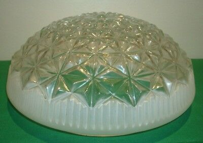 "Vintage Frosted & Clear Glass CEILING LIGHT GLOBE LAMP SHADE 9"" ART DECO"