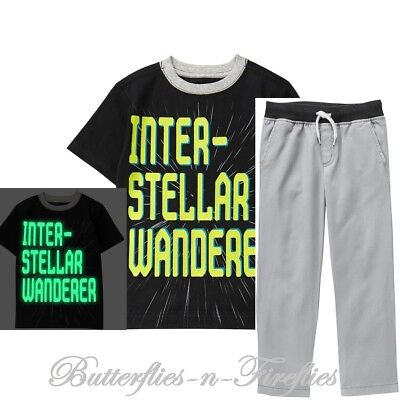 NWT Gymboree COSMIC CLUB 2pc Set GLOW-IN-THE-DARK INTERSTELLAR Tee Pant Boys M 8