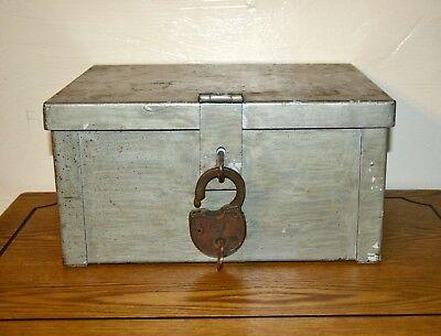 Vintage Strong box w Antique Eagle Lock