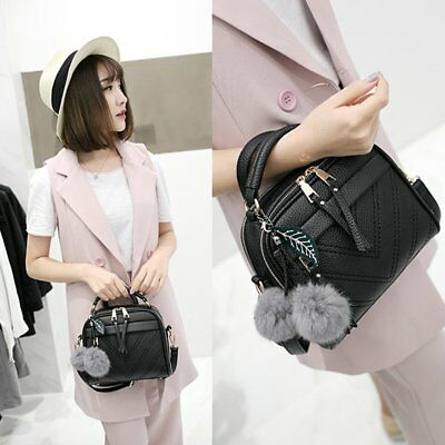 Women PU Leather Handbag  Hairball Pendant Lady Shoulder Crossbody Bag OK