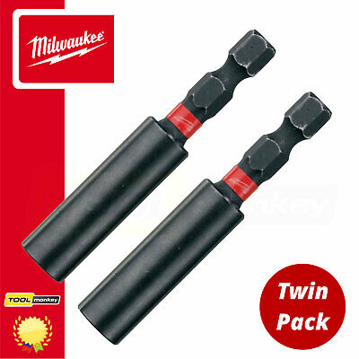 "2 x New Milwaukee Shockwave Impact Duty Magnetic 1/4"" Screwdriver Bit Holder"