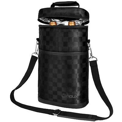 OPUX Premium Insulated 2 Bottle Wine Carrier Tote Bag for Outdoor Travel Picnic