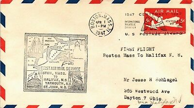 Dr Jim Stamps Us Boston First Flight Air Mail Cover Halifax Canada Backstamp