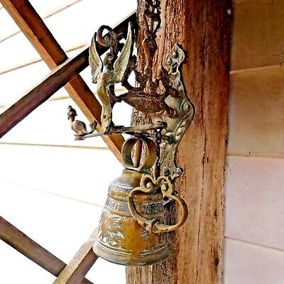 Brass Bell Vintage Door Bell Large Heavy Solid Highly Decorative Unusual Design