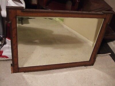 Vintage antique rectangular bevelled edge wall mirror over mantle mirror