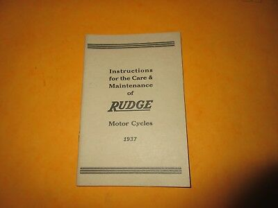 Rudge Motor Cycles Instruction Care & Maintenance Book For 1937