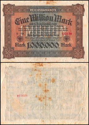 Germany 1 Million Mark Banknote, 1923, P-86a, USED