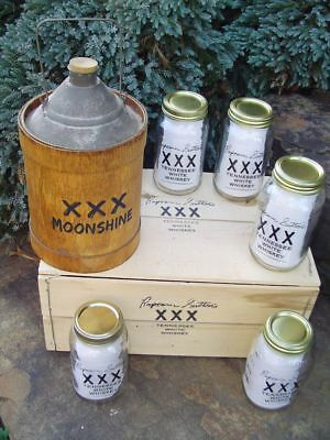 Scarce Popcorn Sutton Whiskey Display Items Crate & First Run Mason Jars