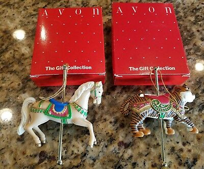 Vintage Avon The Gift Collection CAROUSEL ORNAMENTS Set of 2
