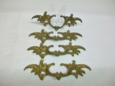 4 Vintage Antique Cast Brass Drawer Pull Pulls Handle Dresser Cabinet Pulls
