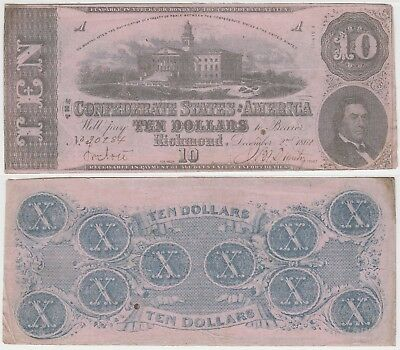 1862 $10 Confederate States Note T-52 Cr-371 State Capitol Columbia Pink Paper