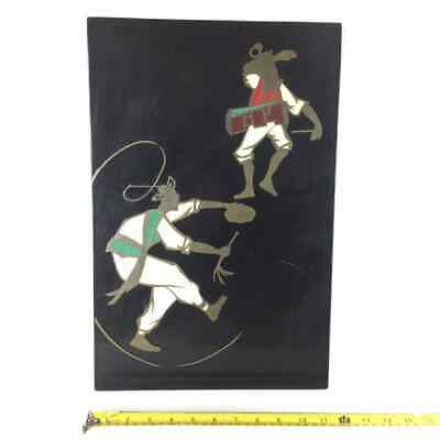 Lacquer Korea Wall Plaque Brass In Lay, Men Playing Music