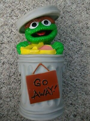 """RARE Sesame Street OSCAR THE GROUCH Vinyl BANK with Stopper Licensed 10"""" Tall"""