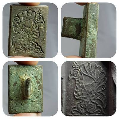 Peacock intaglio seal Bronze Old Stamp   # D