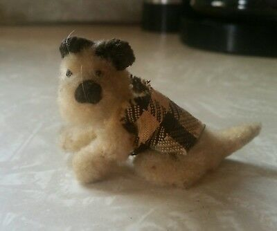VINTAGE fuzzy gray terrier dog figurine or toy chenille pipe cleaner